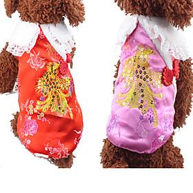 Hund Vest Hundetøj Nytår Blomster/botanik Rød Lys pink 6076892