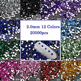 20000pcs/Pack 2mm 3D Crystal Nail Art Glitter Rhinestones Decorations Flat Back Gem Shining Jewelry Manicure Practice Accessory For DIY Beauty 201-212 6129054
