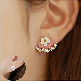 Women's Crystal Stud Earrings Front Back Earrings / Ear Jacket - Sterling Silver, Crystal, S925 Sterling Silver Flower, Daisy Elegant Gold / Silver / Rose Gold
