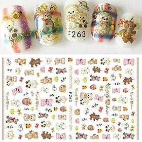 1pcs New Nail Art DIY Beauty Design Lovely Bear Doll Cartoon Animal Cute Pet Cute Decoration Nail Art 3D Sticker F263 6129019