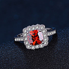 Women's Synthetic Ruby Band Ring - Sterling Silver Fashion, Elegant 6 / 7 / 8 Red For Wedding Engagement Daily