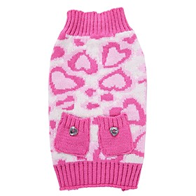Cat Dog Coat Sweater Christmas Dog Clothes Party Cosplay Casual/Daily Keep Warm Wedding New Year's Leopard Pink Costume For Pets 6182988