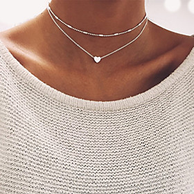 Women's Beads Choker Necklace wrap necklace Heart Ladies Basic Gold Silver Necklace Jewelry For Wedding Party Birthday Engagement Gift Daily