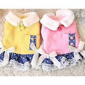 Cachorro Vestidos Roupas para Cães Algodão Primavera/Outono Inverno Casual Laço Amarelo Rosa claro Para animais de estimação 6116988