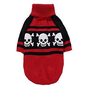 Kat Hund Frakker Bluser Jul Hundetøj Fest Cosplay Afslappet/Hverdag Hold Varm Bryllup Halloween Nytår Dødningehoveder Rød Kostume For 6182998