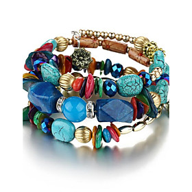 Women's Unisex Chain Bracelet Wrap Bracelet Flower Bohemian Natural Fashion Bracelet Jewelry Red / Green / Blue For Party Birthday Gift Casual Stage