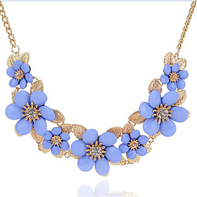 Women's Flower Floral Flower Style Bohemian Flowers Statement Necklace Rhinestone Alloy Statement Necklace , Party Holiday 6240004