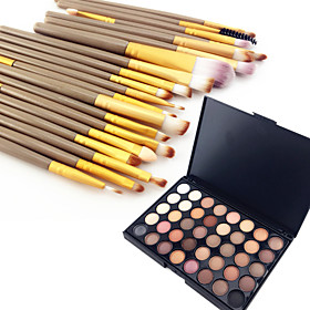 40 Color Eyeshadow Eyebrow Powder Cosmetic Palette  20 Eyeshadow Eyebrow Makeup Brush Set 6258565