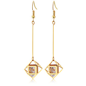 Women's Drop Earrings - Zircon Tassel, Elegant Gold / Silver For Party Daily