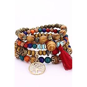 Men's Women's Bead Bracelet Wrap Bracelet Wooden Wood Simple Style Hip-Hop Bracelet Jewelry Coffee / Red / Blue For Gift Evening Party