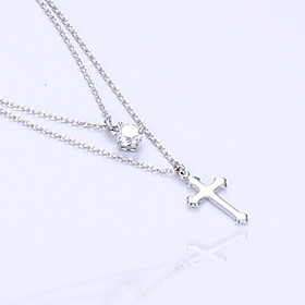 Women's Pendant Necklaces Layered Necklaces Cubic Zirconia Round Cross Silver Plated Multi Layer Cross Jewelry For Party Gift 6201742