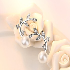 Women's Pearl AAA Cubic Zirconia Stud Earrings Pearl Sterling Silver Earrings Leaf Dainty Ladies Fashion Jewelry White and Sliver For Daily Work