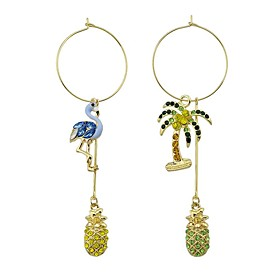 Women's Synthetic Diamond Mismatched Drop Earrings - Rhinestone Bird, Tree of Life Fashion Blue / Pink For Daily Casual
