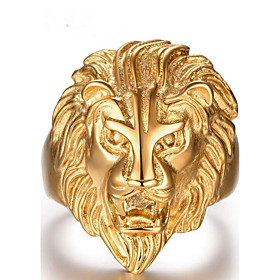 Men's Jewelry Band Ring - Stainless Steel Lion Gold 6204048