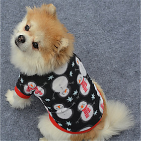 Dog Sweatshirt Dog Clothes Geometic Black White/Black Polar Fleece Costume For Pets New Year's Christmas 6249448