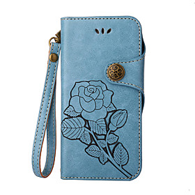 Case For Apple iPhone X / iPhone 8 / iPhone 8 Plus Card Holder / Flip / Embossed Full Body Cases Flower Hard PU Leather for iPhone X / iPhone 8 Plus / iPhone 8