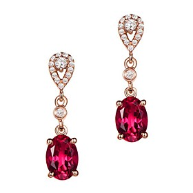 Women's AAA Cubic Zirconia Synthetic Ruby Stud Earrings - Stainless Steel, Cubic Zirconia Drop Luxury, Fashion Red For Gift Going out