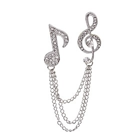 Women's Brooches Rhinestone Music Notes Ladies Rock Fashion Brooch Jewelry Silver For Casual Stage