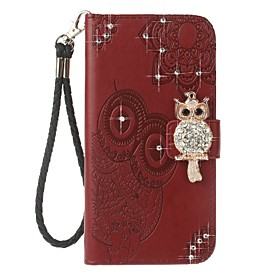 Case For Apple / iPhone X iPhone X / iPhone 8 / iPhone 8 Plus Wallet / Card Holder / Rhinestone Full Body Cases Owl Hard PU Leather for iPhone X / iPhone 8 Plu
