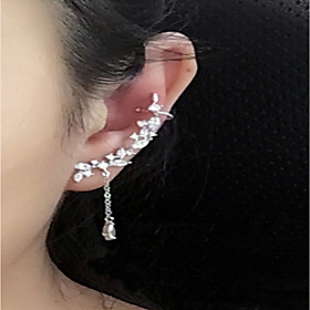 Women's Crystal Tassel Stud Earrings Mismatch Earrings Ear Climbers - Sterling Silver, Crystal Personalized, Fashion Silver For Casual Going out
