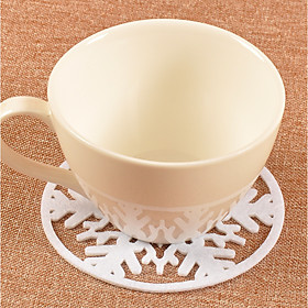 2pcs Christmas Red White Snowflake Glasses Mat Drinking Cup Tea Coaster Table Decoration Holiday 6197609