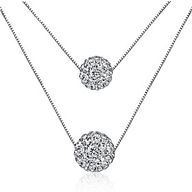 Women's Layered Necklaces AAA Cubic Zirconia Round Sterling Silver Zircon Multi Layer Sexy Jewelry For Valentine Festival 6257205