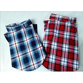 Dog Shirt / T-Shirt Dog Clothes Casual/Daily Plaid/Check Blue Red 6241749