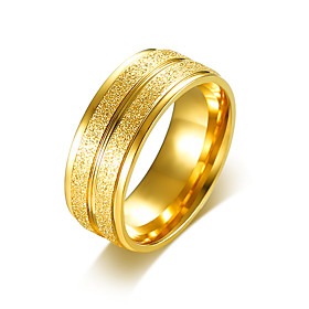 Men's Band Ring Engagement Ring Stainless Steel Gold Plated Simple Basic Ring Jewelry Gold / Silver For Wedding Party 7 / 8 / 9 / 10 / 11