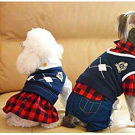 Hund Jumpsuits Kjoler Hundetøj Afslappet/Hverdag Britisk Sort Rød 6266314
