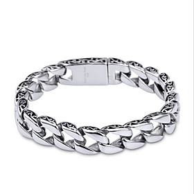 Men's Chain Bracelet Stainless Steel Unique Design Simple Style Fashion Bracelet Jewelry Silver For Christmas Gifts Daily Casual