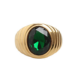 Men's Cubic Zirconia Band Ring - Titanium Steel Statement, Vintage, Rock 8 / 9 / 10 / 11 Red / Green / Blue For Daily Casual