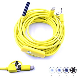 3 in 1 USB Endoscope Inspection Borescop Mini Camera 10M Hardwire 7mm Lens Waterproof IP67 Snake Cam 6 LED for Android PC