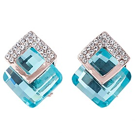 Women's Stud Earrings Basic Fashion Crystal Alloy Square Shape Jewelry Gray Brown Red Light Blue Royal Blue Gift Date Costume Jewelry 6395671