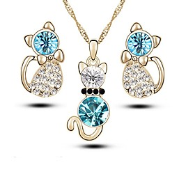 Women's Crystal Jewelry Set - Crystal, Imitation Diamond Fashion Include Drop Earrings Necklace Gold / Silver For Daily