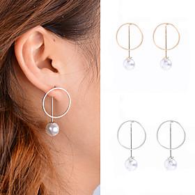 Women's Obsidian Hoop Earrings Pendant Dangle Earrings - Pearl, Imitation Pearl Personalized, Dangling Style, European Gold / Silvery For Daily Casual