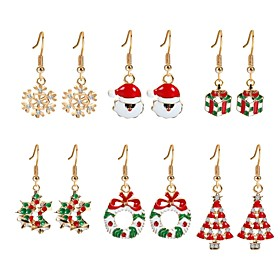 Women's Cubic Zirconia Drop Earrings - Zircon, Gold Plated Christmas Tree Rainbow For Christmas New Year
