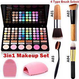 3in1 Makeup Set(78 Colors 3in1 60 Eyeshadow 12 Lipstick 6 Blusher Makeup Cosmetic Palette1 Blush Brush1 Brush Egg) 3204