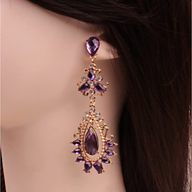 Women's Crystal Amethyst Long Stud Earrings Drop Earrings Crystal Earrings Drop Dainty Ladies Classic Fashion Jewelry Purple For Wedding Party Masquerade Engag