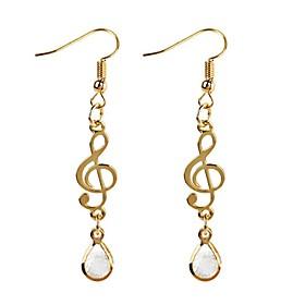 Women's Cubic Zirconia Drop Earrings - Zircon Music Notes Classic, Fashion Gold For Daily