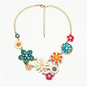 Women's Turquoise Cubic Zirconia Pendant Necklace Zircon Turquoise Daisy Ladies Classic Bohemian Fashion Gold Necklace Jewelry For Party Prom Promise