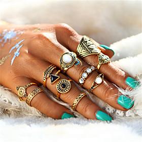 Women's Crystal Rings Set Alloy Leaf Flower Ladies Vintage Sweet Elegant Ring Jewelry Gold / Silver For Wedding Party Halloween Birthday Engagement Gift One Si