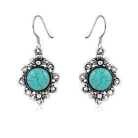 Women's Turquoise Chandelier Drop Earrings - Turquoise Flower Vintage, Bohemian Silver For Daily