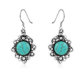 Women's Turquoise Chandelier Drop Earrings Turquoise Earrings Flower Vintage Bohemian western style Jewelry Silver For Daily
