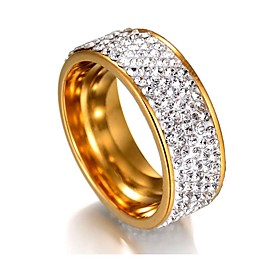 Women's Cubic Zirconia Geometrical Band Ring Stainless Steel Ladies Classic Basic Ring Jewelry Silver / Golden For Wedding Graduation 7 / 8 / 9 / 10 / 11
