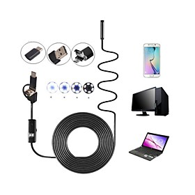 8mm Lens 3 in 1 USB Camera Endoscope Inspection Borescop Waterproof IP67 Snake Cam 6 LED for Android PC 10M Hardwire