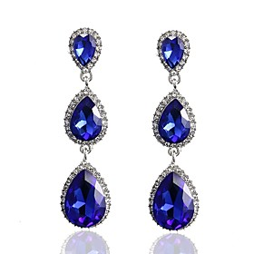 Women's Crystal Stud Earrings Drop Earrings - Crystal Drop Classic, Fashion White / Red / Blue For Party Gift
