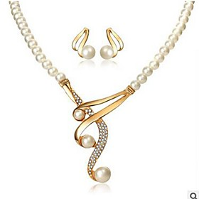 Women's Jewelry Set - Imitation Pearl, Imitation Diamond Classic, Fashion Include Drop Earrings Necklace Gold For Daily
