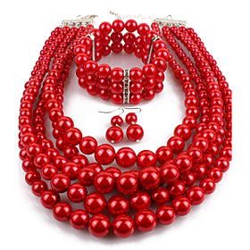 Women's Pearl Layered Jewelry Set - Imitation Pearl Statement Include Drop Earrings Pearl Strands Pearl Necklace Red / Wine / Grey For Casual Evening Party