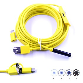 3 in 1 7mm USB Endoscope 5m Cable 6 LED Waterproof IP67 Inspection Borescop Camera Snake Video Cam for Android PC