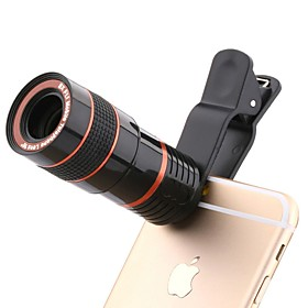 8 X 18 mm Monocular Fully Coated BAK4 Optical Zoom Camera Telescope with clip for IPhone Samsung Xiaomi Huawei Ipad Tablet PC and Smartphones